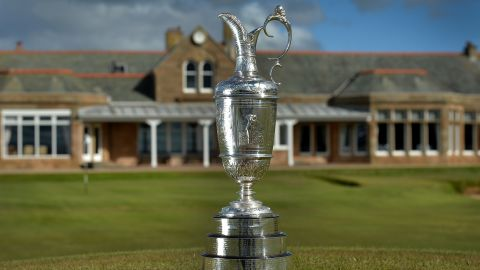 The famous Claret Jug in front of The Royal Troon Club House.