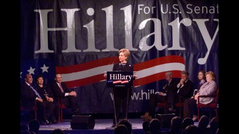 Clinton announces in February 2000 that she will seek the U.S. Senate seat in New York. She was elected later that year.