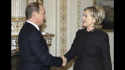Clinton, as secretary of state, greets Russian Prime Minister Vladimir Putin during a meeting just outside Moscow in March 2010.