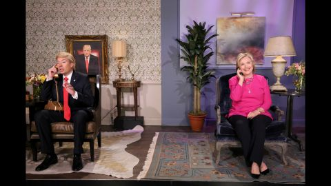 """Clinton, now running for President again, performs with Jimmy Fallon during a """"Tonight Show"""" skit in September 2015."""