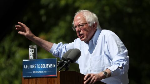 Democratic presidential candidate Sen. Bernie Sanders speaks during a campaign rally on May 10, 2016, in Stockton, California.