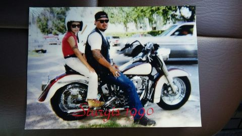 Chris and Jake Carrizal at the Sturgis motorcycle rally in 1990.