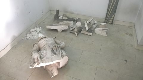 The remnants of King D. Sebastiao's statue