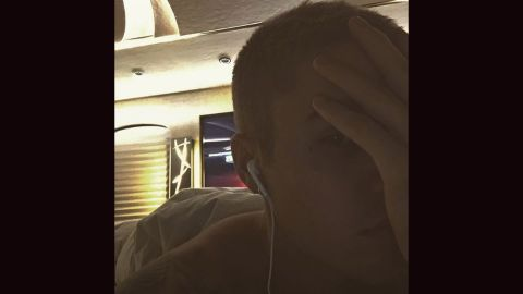 """Bieber posted this photo, where a tiny cross by his eye can be made out, to his Instagram feed on May 7, 2016. <a href=""""http://www.usmagazine.com/celebrity-news/news/justin-biebers-face-tattoo-artist-explains-its-meaning-w205646"""" target=""""_blank"""" target=""""_blank"""">Tattoo artist Jonboy told Us Weekly</a> """"It represents [Bieber's] journey in finding purpose with God."""" The tattoo appears not to be visible in more recent photos."""