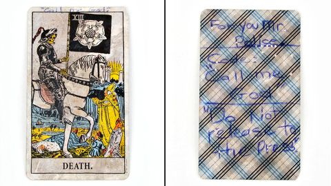 During the sniper-style shootings that took place in the Washington area in 2002, this tarot card was left for police outside a middle school in Maryland's Prince George's County. By the time John Allen Muhammad and Lee Boyd Malvo were arrested, 10 people were killed and three others were injured. Muhammed was executed and Malvo was sentenced to life in prison. The card is on display at the Newseum in Washington, on loan from the National Law Enforcement Museum.