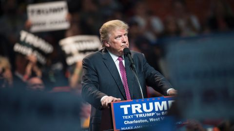 US Republican presidential candidate Donald Trump speaks during a rally May 5, 2016 in Charleston, West Virginia.