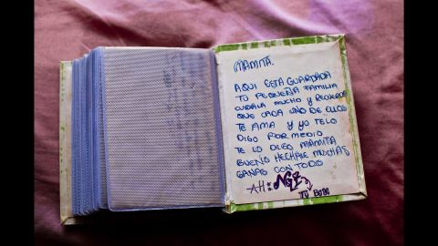 """Nayeli, a 19-year-old who disappeared in 2011, wrote this note in a photo book for her mother. Part of it says, """"Here is your little family safe, remember that all of us love you."""""""