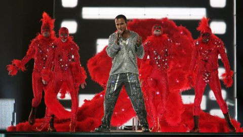 Austrian singer Eric Papilaya performs at a dress rehearsal in 2007.