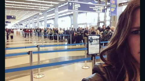Erin Fooch was flying out of O'Hare Airport Friday morning and her wait time to get through TSA was 2 hours.  She just made her flight, but her boss wasn't so fortunate.