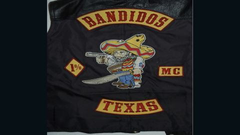 """The """"fat Mexican"""" patch of the Bandidos, one of the largest motorcycle clubs."""