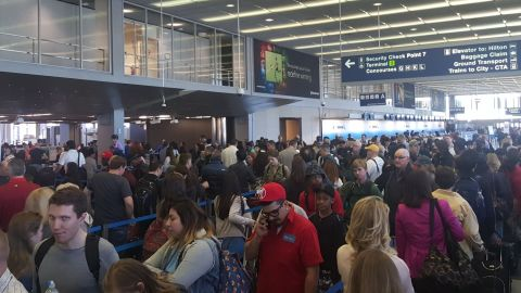 Jeff Graveline was flying out of O'Hare International Airport on Friday, May 13, and he said he waited in the security line for 80 minutes. He had to sprint to his gate, but he made his flight.