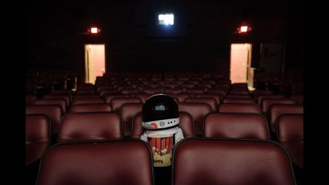 """This photo inside a movie theater was captioned by Sheldon as """"Training Films."""""""