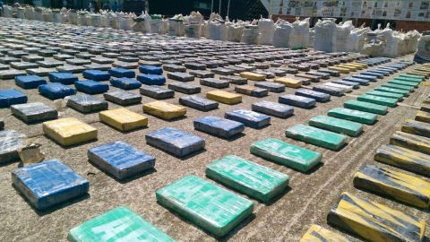 Police displayed the eight tons of seized cocaine.