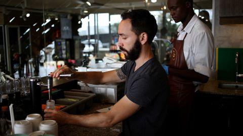 Dayne Levinrad at his coffee shop in Johannesburg.