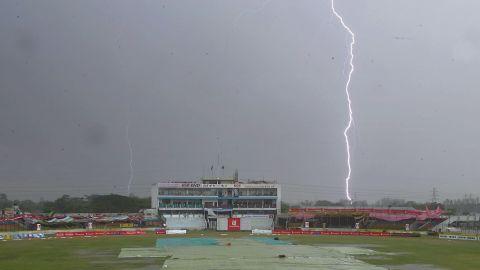 Lightning strikes behind a cricket stadium in Chittagong, Bangladesh, in this file image.