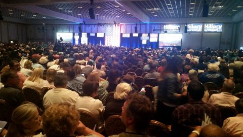 Thousands of people gather at the Paris casino in Las Vegas for the Nevada State Democratic Convention on Saturday, May 14, 2016. They are picking delegates to send to the national convention in July.