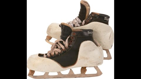 Craig played every minute of seven Olympic hockey games. He gave up just 15 goals while wearing these size 11 Bauer Supreme 49 skates.