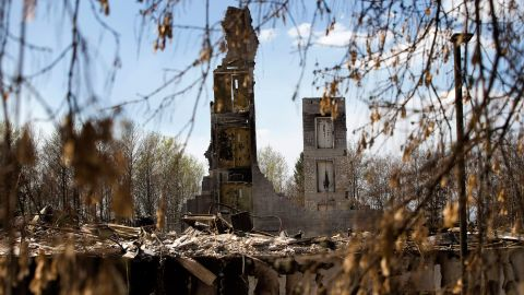 Remains of a building stand in the neighborhood of Abasand in Fort McMurray on May 13.