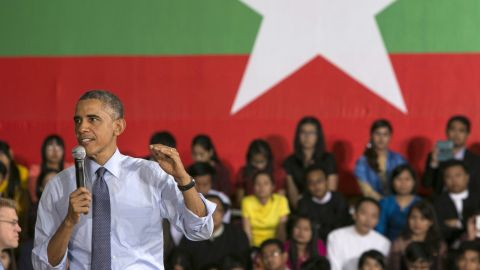 U.S. President Barack Obama speaks to students in November 2014 in Yangon, Myanmar. The U.S. will ease sanctions on the Southeast Asian nation following political reforms.