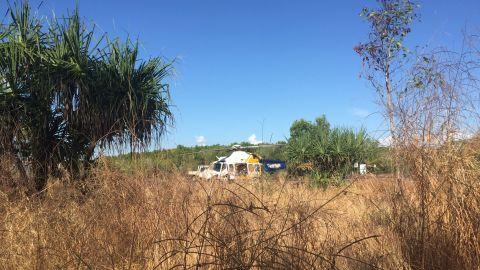 A CareFlight helicopter seen near the scene of a crocodile attack near Darwin.