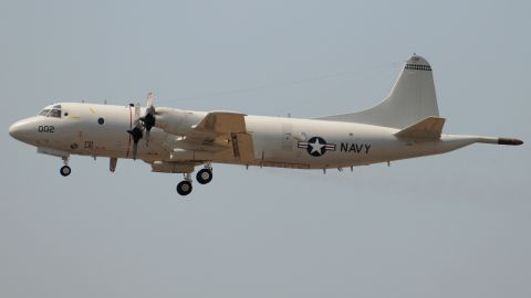 A U.S. Navy P-3 Orion maritime surveillance aircraft takes off from the Comalapa air base south of San Salvador, El Salvador, in May 2009.