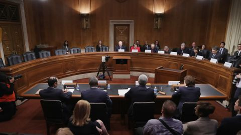 Democratic members of the Senate Judiciary Committee convene a meeting to discuss what they see as Supreme Court nominee Merrick Garland's qualifications to serve on the high court in the Dirksen Senate Office Building on Capitol Hill May 18, 2016 in Washington, DC. Democrats left half the seats at the dais vacant so to emphasize the Senate Republicans' opposition to holding confirmation hearings for Judge Garland.