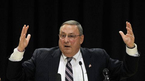 BIDDEFORD, ME - APRIL 19: Gov. Paul LePage holds a town hall meeting at Biddeford High School Tuesday, April 19, 2016. (Photo by Shawn Patrick Ouellette/Portland Press Herald via Getty Images)
