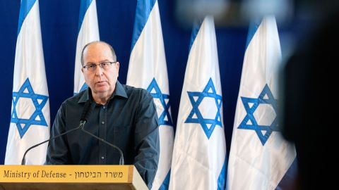 Israeli Defence Minister Moshe Yaalon announces his resignation during a press conference on Friday, May 20, in Tel Aviv.