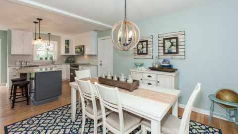 """AFTER: The dining room as it looks now. """"We've been totally riding this wave,"""" White said."""