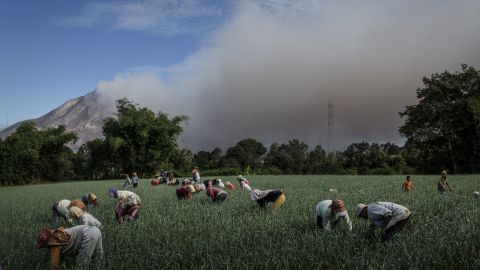 Farmers work in the fields as smoke rises from Mount Sinabung in June 2015. A 4-kilometer (2.5-mile) area around the mountain was declared a danger zone in 2014 and residents told to evacuate, but people still returned to tend to their homes and land. <br />