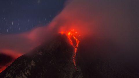 Lava runs down Mount Sinabung following the June 2015 eruption.