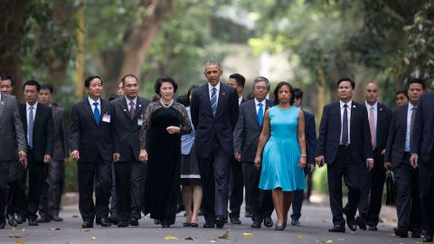 Obama walks to the left of Thi Kim Ngan, chairwoman of Vietnam's National Assembly, at the Presidential Palace in Hanoi on Monday, May 23.