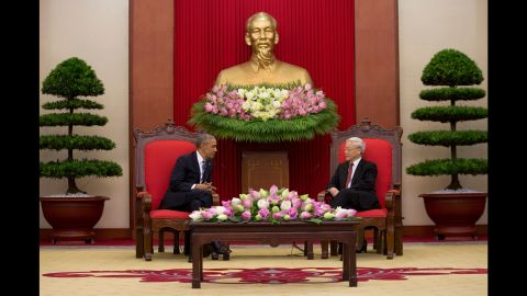 Obama meets with Nguyen Phu Trong, the Vietnamese Communist Party's general secretary, in Hanoi on May 23.