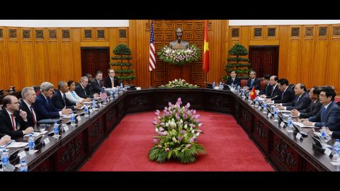 Obama, with Secretary of State John Kerry and other Cabinet members, attends a meeting with Vietnamese Prime Minister Nguyen Xuan Phuc, third from right, on May 23.