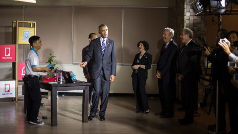 Obama tours through entrepreneur demonstrations in Ho Chi Minh City on Tuesday, May 24.