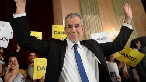 Austrian President-elect Alexander Van der Bellen during an election party after the second round of the Austrian President elections on May 22 in Vienna