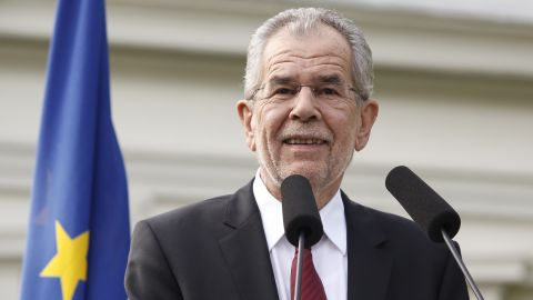 The green candidate for Austrian Presidency Alexander Van der Bellen addresses a Press conference after wining the election in Vienna, Austria on May 23, 2016. The Austrian government confirmed that green-backed candidate Alexander van der Bellen narrowly beat his far-right rival Norbert Hofer to the presidency after postal votes broke a tie in the closely watched race. / AFP / Dieter Nagl        (Photo credit should read DIETER NAGL/AFP/Getty Images)