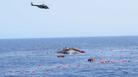 An Italian helicopter assisted in the rescue at sea. At least seven people died but 500 were rescued.