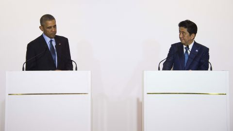 President Barack Obama speaks after a bilateral meeting with Japanese Prime Minister Shinzo Abe during the Group of Seven, or G7, summit meetings in Shima, Japan, on Wednesday, May 25.