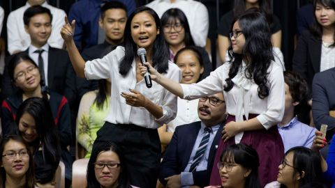 """Vietnamese rapper Suboi <a href=""""http://www.cnn.com/videos/world/2016/05/25/vietnam-obama-beat-box-rap-sot.cnn"""" target=""""_blank"""">raps during the town-hall event,</a> which was for the Young Southeast Asian Leaders Initiative."""