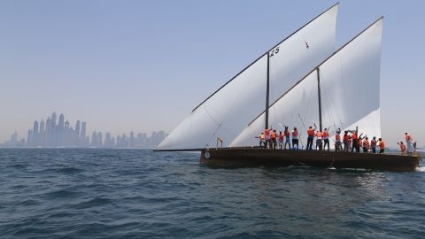 Dhows do not have motors, and each boat competing today must have a crew of a minimum of 12 for the 51.3 nautical mile-long race.