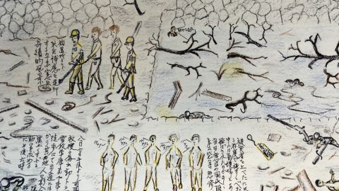 Japanese public broadcaster NHK collected the drawings of A-bomb survivors. This one shows U.S. prisoners of war (POWs) being taken by Japanese Military Police.