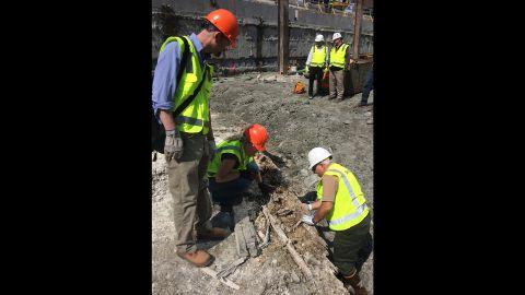 The vessel was found 25 feet below grade near Boston Harbor.