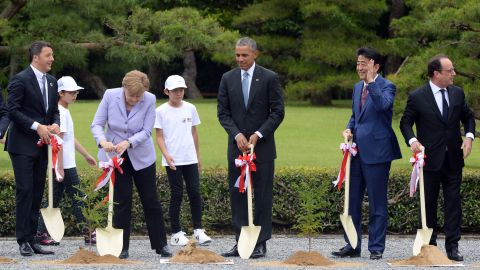World leaders join in a ceremony to plant trees at Ise Jingu shrine in Ise, Japan, on May 26. Obama and other major world leaders are in Japan for a Group of Seven, or G7, summit.