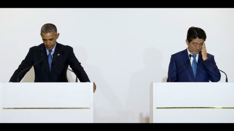U.S. President Barack Obama pauses for a translation during a bilateral meeting with Japanese Prime Minister Shinzo Abe in Shima, Japan, on Wednesday, May 25.