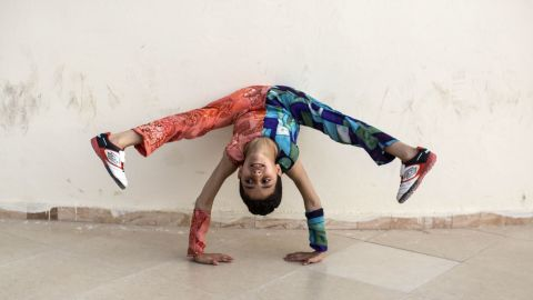 Mohammed shows off his skills at home in Gaza City on May 2.