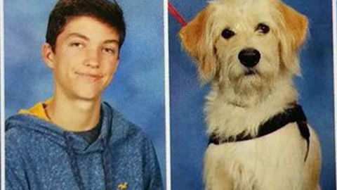 Harry Hulse and  his service dog, Taffy, both get their moments in the Northern Guilford High School  yearbook.