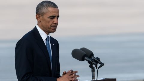 US President Barack Obama delivers a speech at the Hiroshima Peace Memorial park cenotaph in Hiroshima on May 27, 2016. Obama became the first sitting US leader to visit the site that ushered in the age of nuclear conflict.  / AFP / JOHANNES EISELE        (Photo credit should read JOHANNES EISELE/AFP/Getty Images)