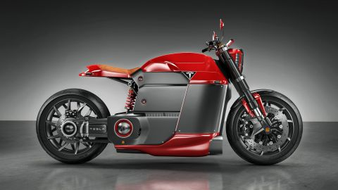 This concept for a Tesla e-motorcycle was dreamed up by London-based designer Jans Slapins.