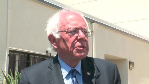 Sen. Bernie Sanders speaks to reporters in Oakland, California. May 30, 2016.